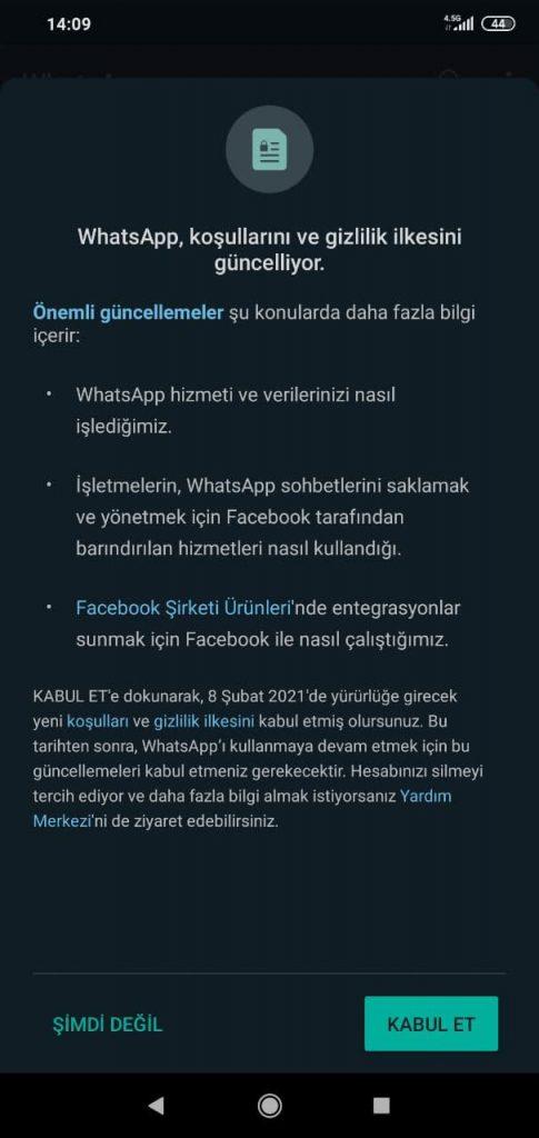 WhatApp Koşulları ve Gizlilik İlkesi